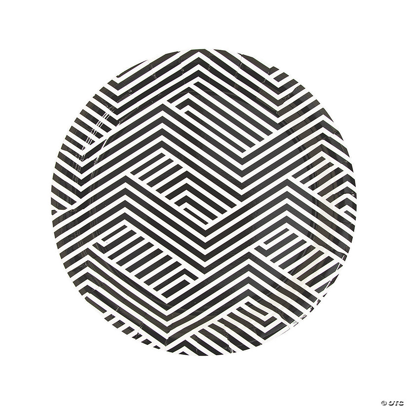 Black Overlapping Chevrons Round Paper Dinner Plates - 8 Ct. Audio Thumbnail
