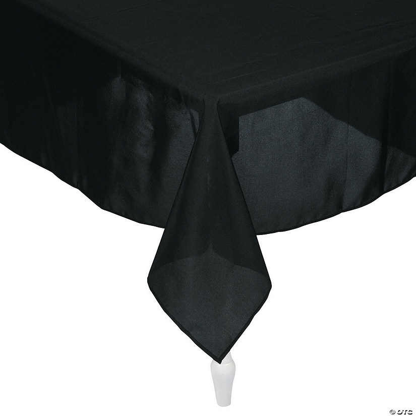 Black Rectangle Polyester Tablecloth Image Thumbnail