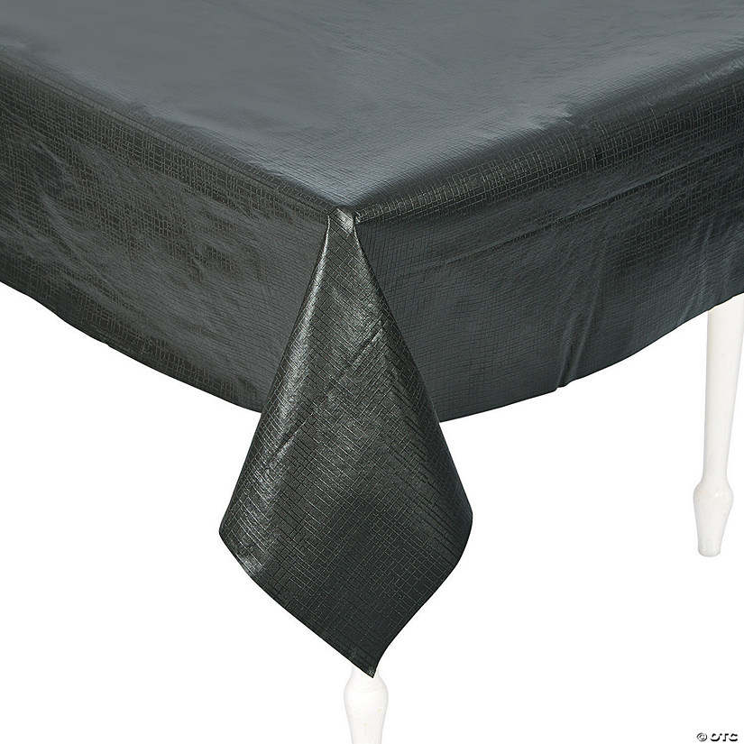 Black Rectangle Vinyl Tablecloth with Flannel Back