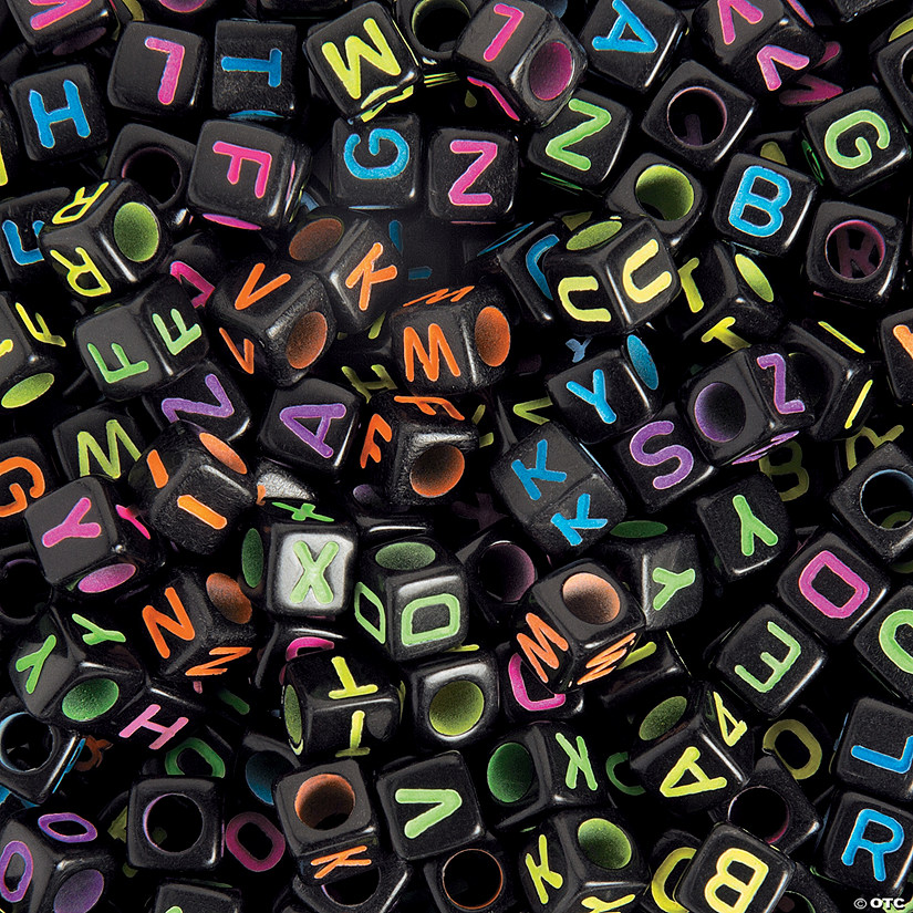 Black Square Neon Alphabet Beads
