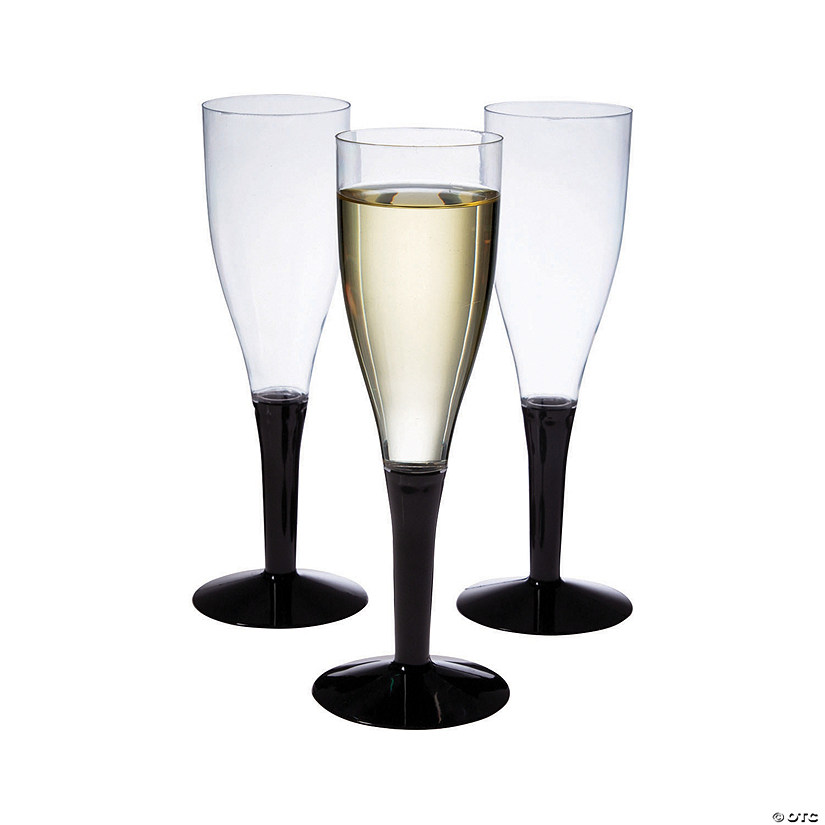 Black Stem Clear Champagne Flutes