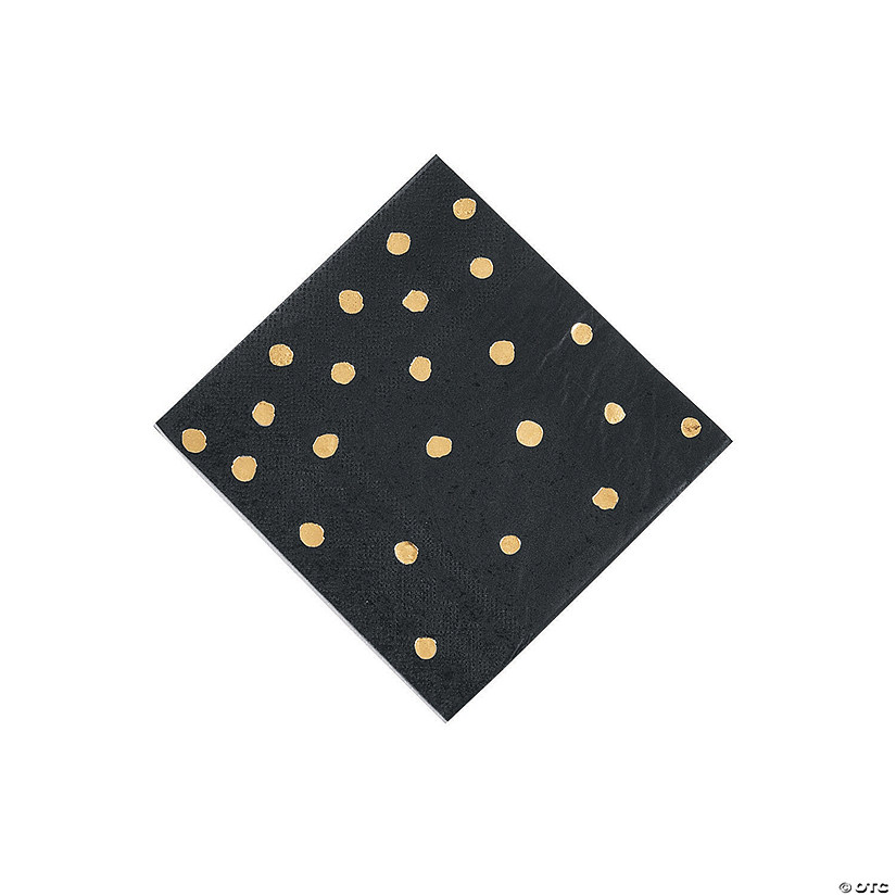 Black Velvet & Gold Foil Polka Dot Beverage Paper Napkins Audio Thumbnail