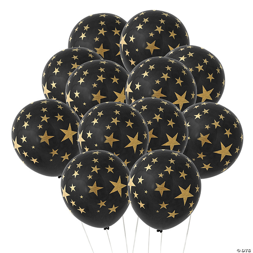 "Black with Gold Stars 11"" Latex Balloons Audio Thumbnail"