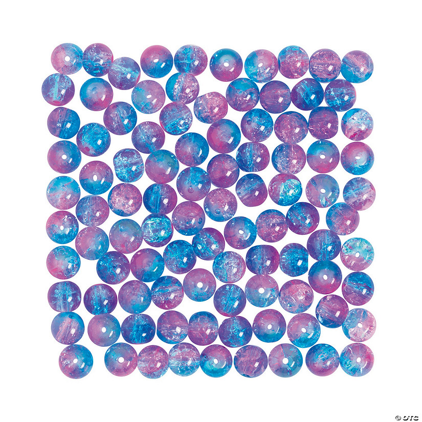 Blue & Pink Crushed Glass Beads - 8mm