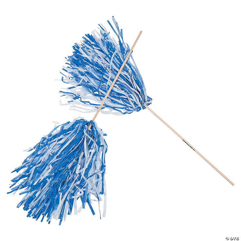 Blue & White Two-Tone Spirit Pom-Poms - 24 Pc. Image Thumbnail