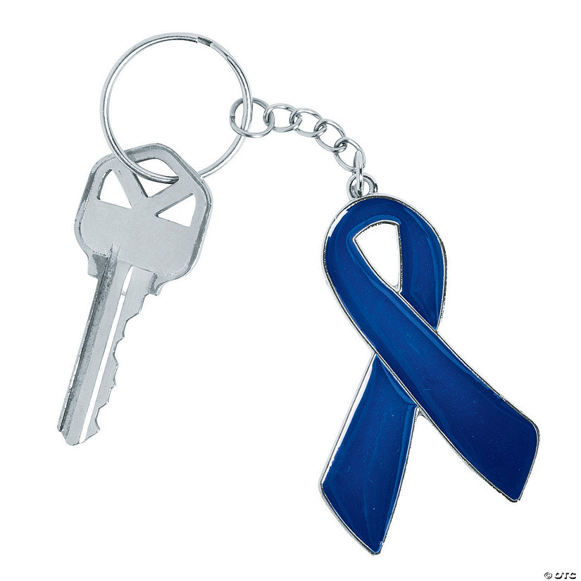 Blue Awareness Ribbon Keychains