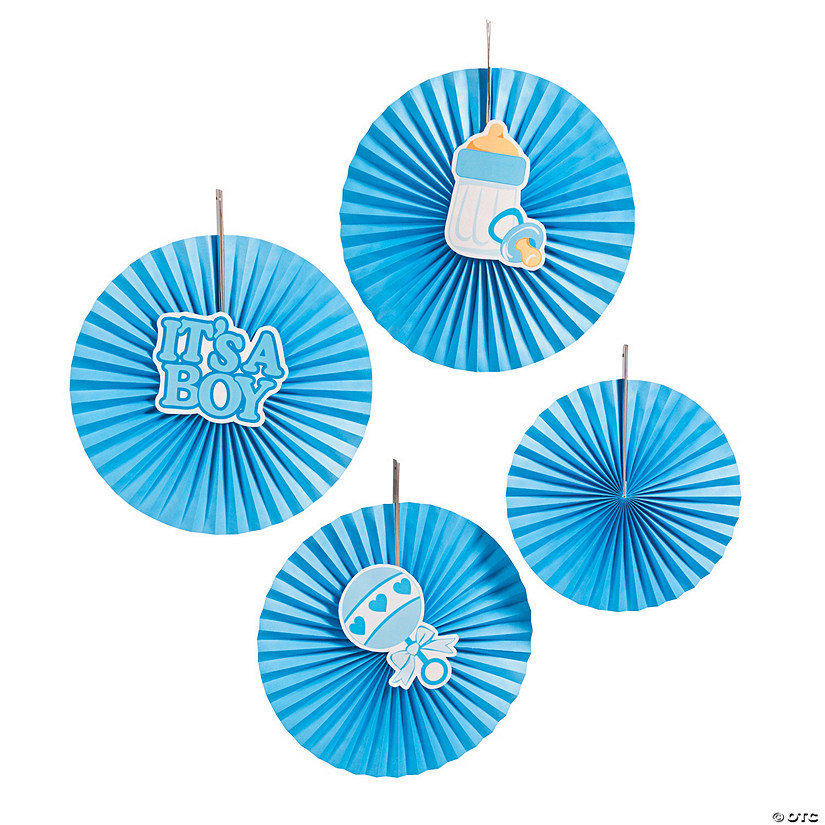 Blue Baby Shower Hanging Fans