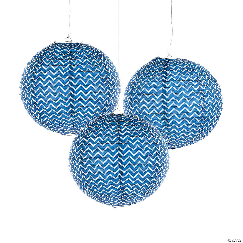 Blue Chevron Hanging Paper Lanterns Audio Thumbnail