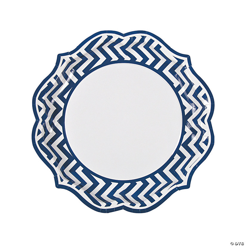 Blue Chevron Scalloped Paper Dinner Plates - 8 Ct. Image Thumbnail