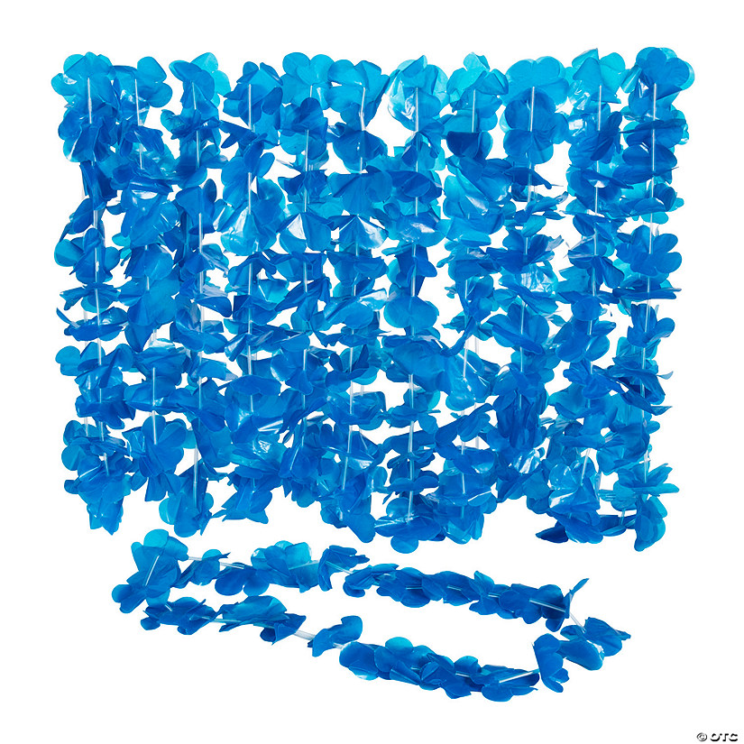 Blue Flower Plastic Leis - 12 Pc. Audio Thumbnail