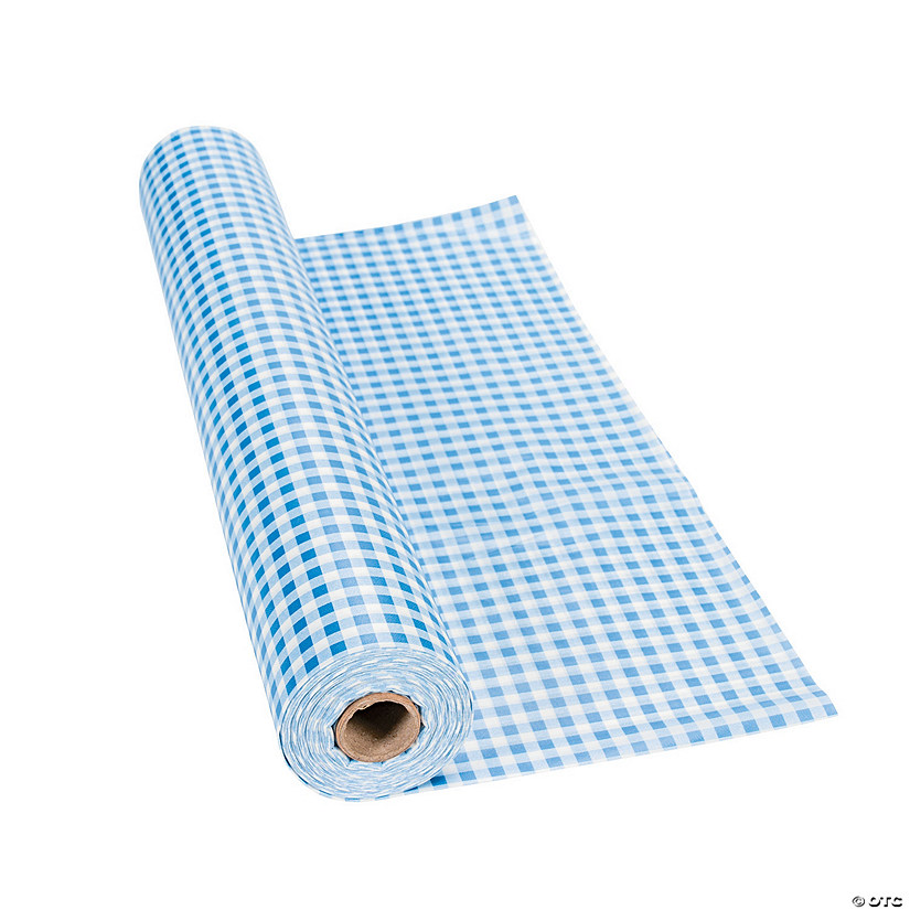 Blue Gingham Plastic Tablecloth Roll