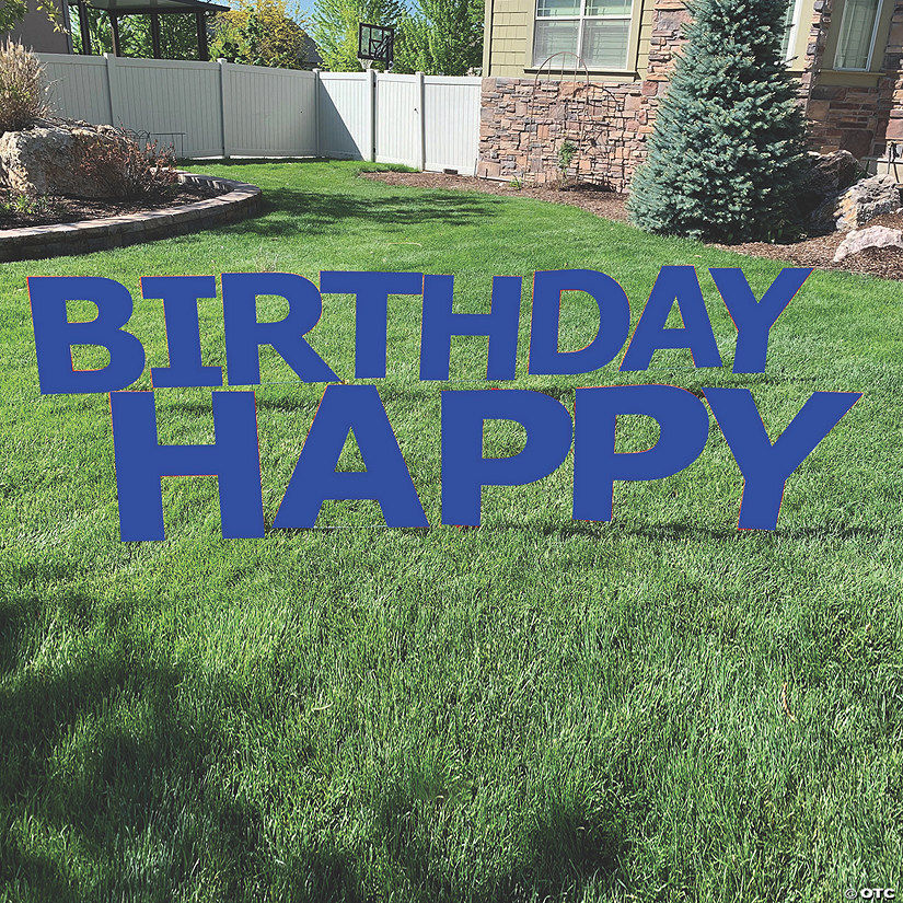 Blue Happy Birthday Letters Yard Sign Image Thumbnail