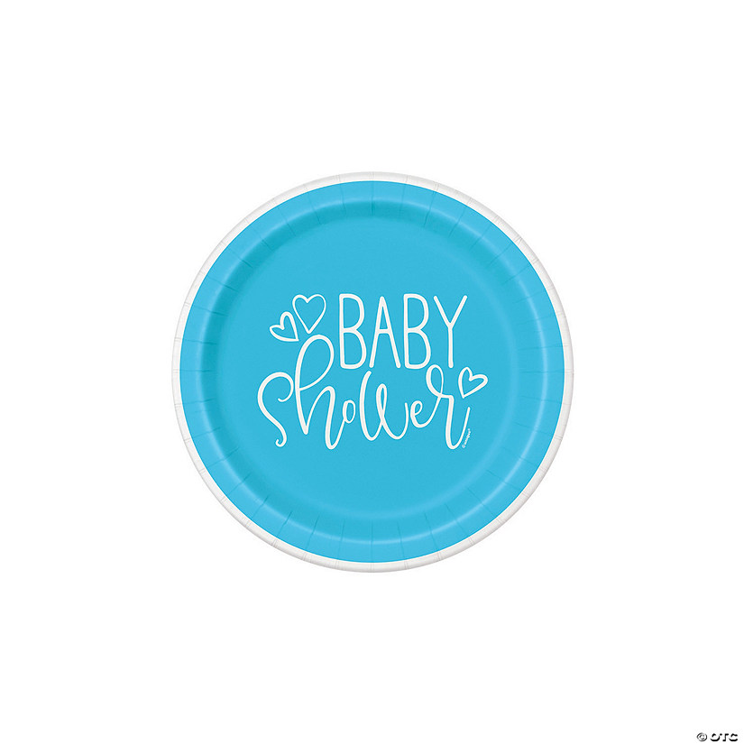 Blue Hearts Baby Shower Paper Dessert Plates - 8 Ct. Audio Thumbnail