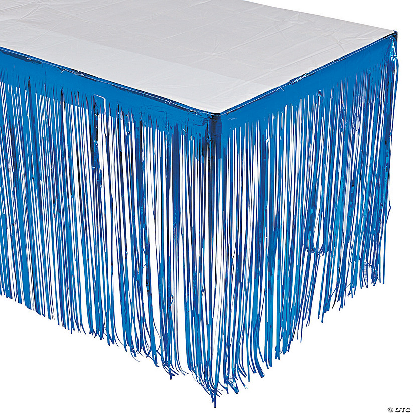 Blue Metallic Fringe Table Skirt Audio Thumbnail