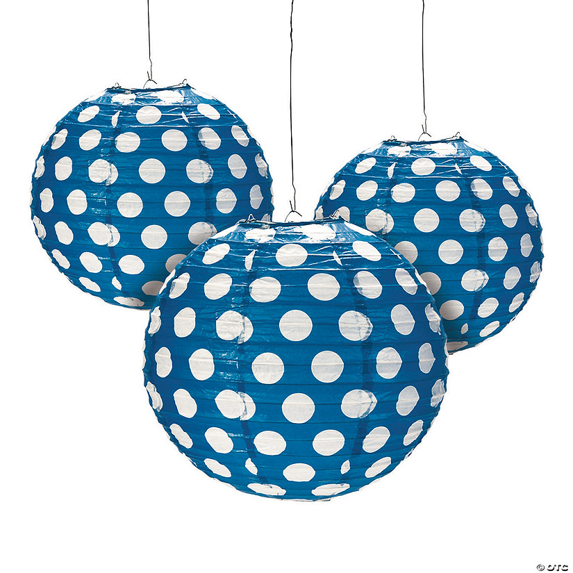 Blue Polka Dot Hanging Paper Lanterns Audio Thumbnail