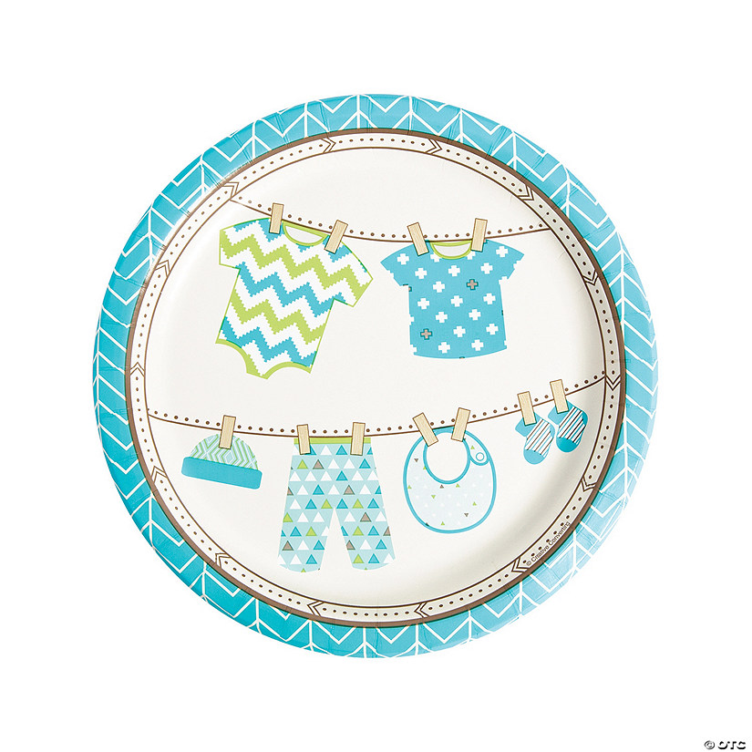 Boy Baby Clothes Paper Dinner Plates