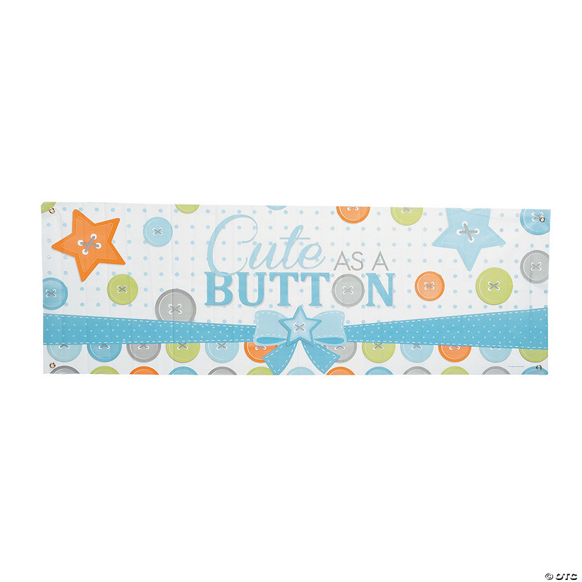 Boy Button Party Giant Plastic Banner