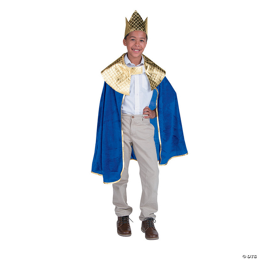 Boy's Blue Wise Man's Cape with Crown Costume Audio Thumbnail