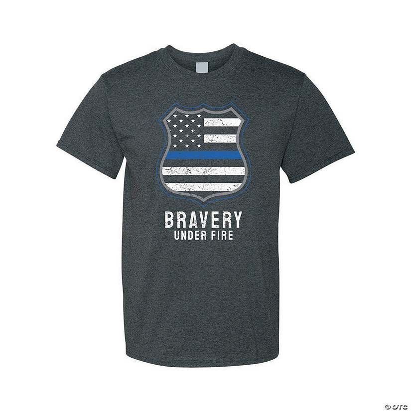 Bravery Under Fire Police Adult's T-Shirt Image Thumbnail