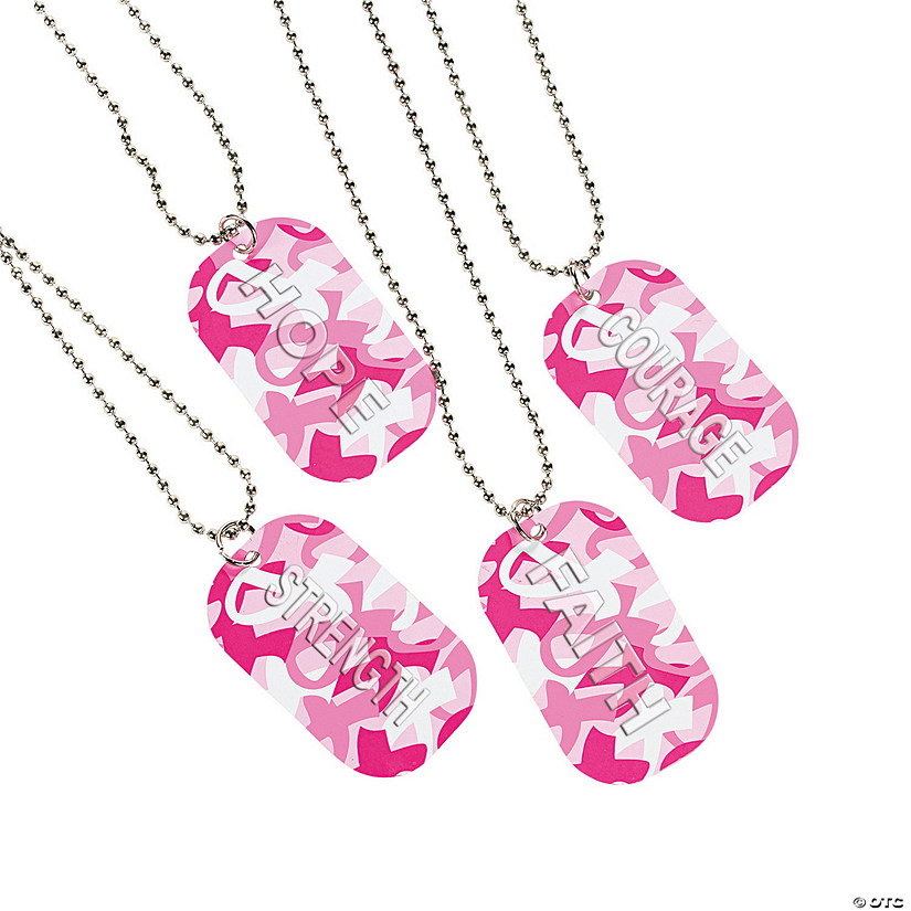 Breast Cancer Awareness Camouflage Dog Tag Necklaces Audio Thumbnail