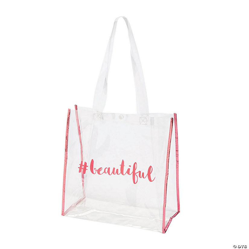 Bridal Party Clear Tote Bags with Pink Trim Audio Thumbnail