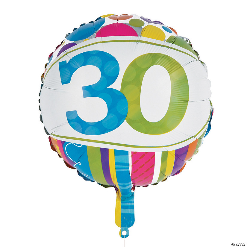 "Bright & Bold 30th Birthday Metallic 18"" Mylar Balloon Audio Thumbnail"