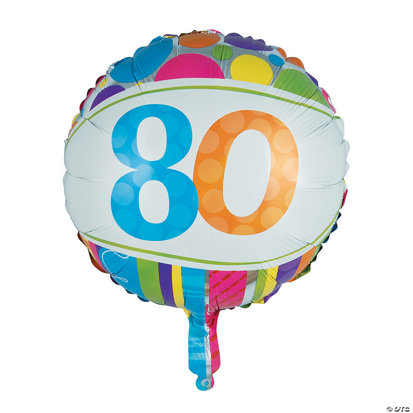 "Bright & Bold 80th Birthday Metallic 18"" Mylar Balloon Image Thumbnail"