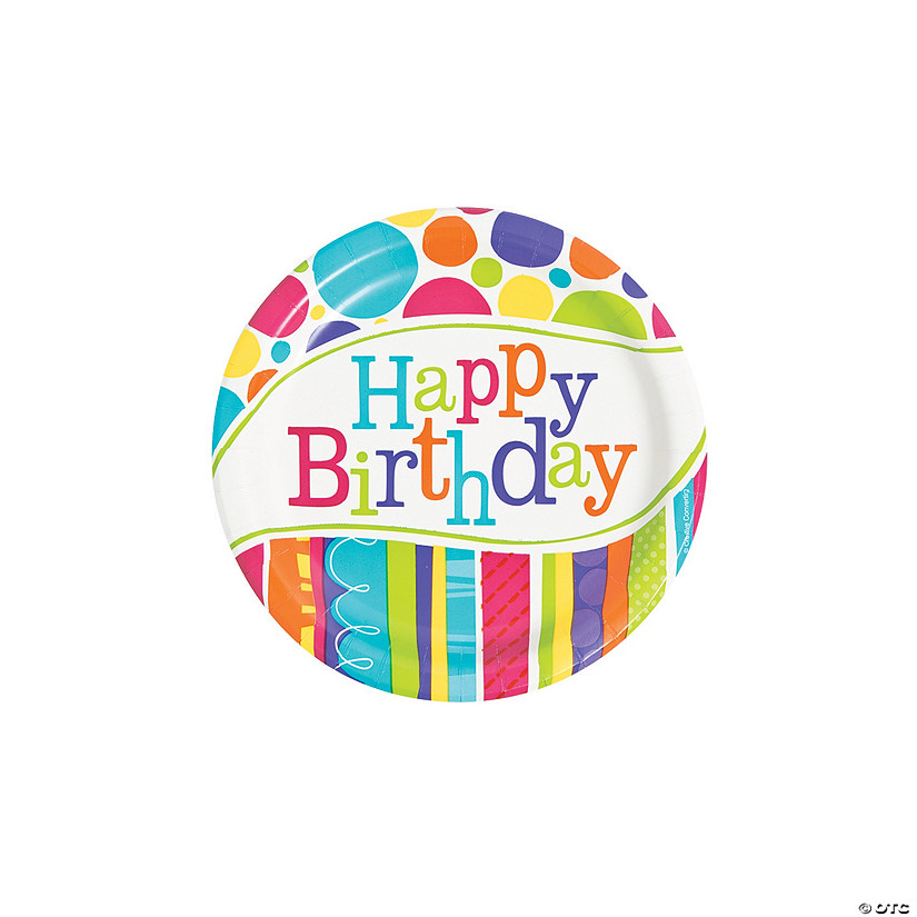 Bright & Bold Birthday Paper Dessert Plates Audio Thumbnail