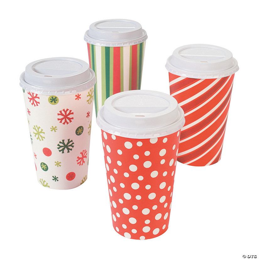 Bright Christmas Coffee Paper Cups with Lids Image Thumbnail