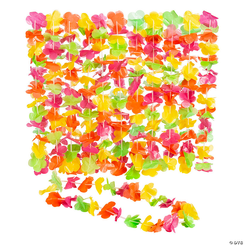 Bright Neon Plastic Leis - 12 Pc. Audio Thumbnail