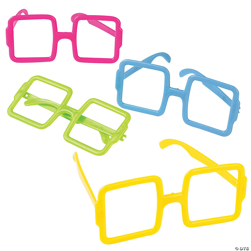 Bright Square Frame Glasses - Discontinued