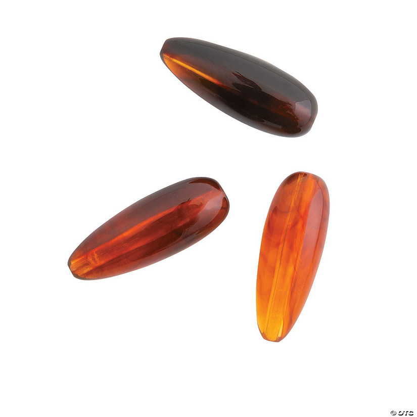 Brown Elongated Teardrop Bead - 25mm