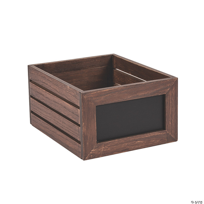 Brown Wooden Crate with Chalkboard Labels