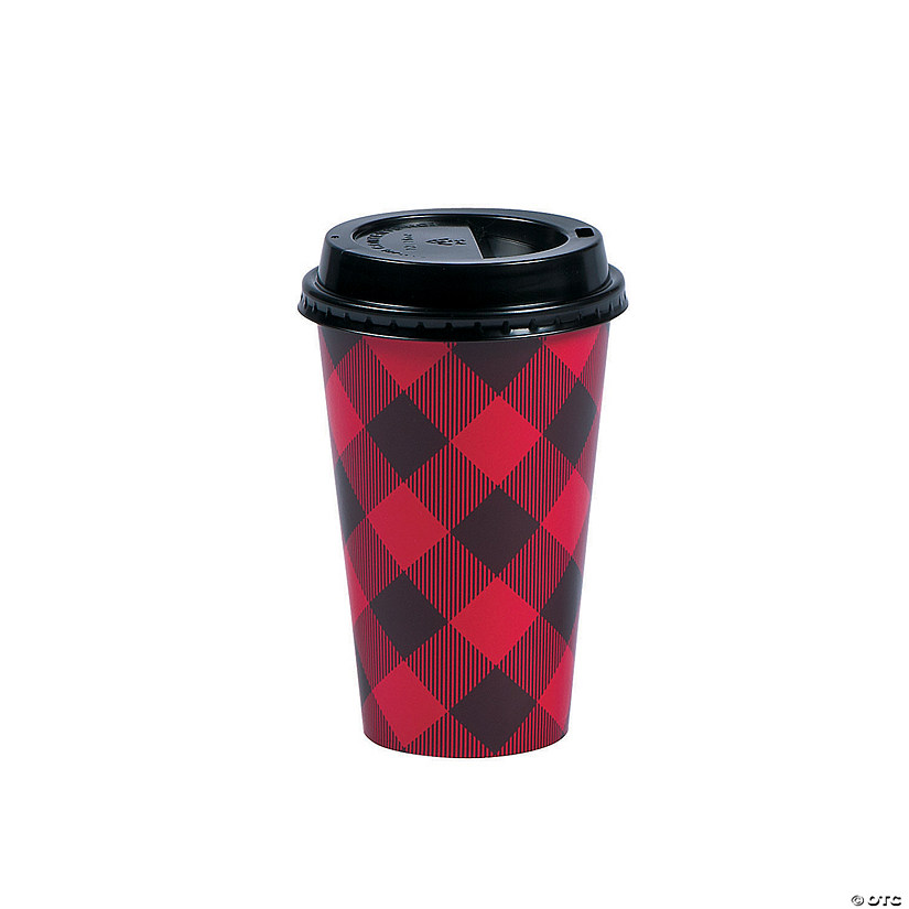Buffalo Plaid Coffee Paper Cups With Lids