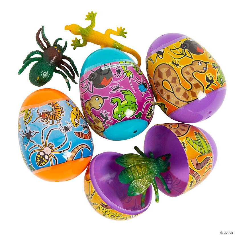 Bug & Reptile Toy-Filled Plastic Easter Eggs – 12 Pc. Image Thumbnail