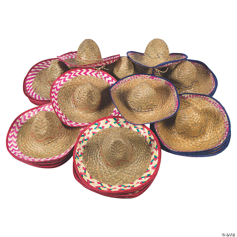 Bulk Adult's Embroidered Woven Sombreros - 72 Pc. Image Thumbnail