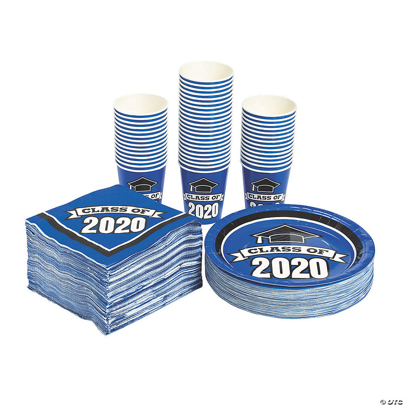 Bulk Class of 2020 Blue Tableware Kit for 50 Guests Audio Thumbnail
