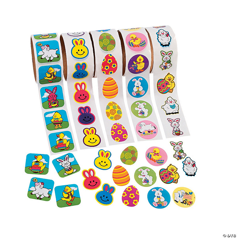 Bulk Easter Roll Sticker Assortment - 5 rolls Image Thumbnail