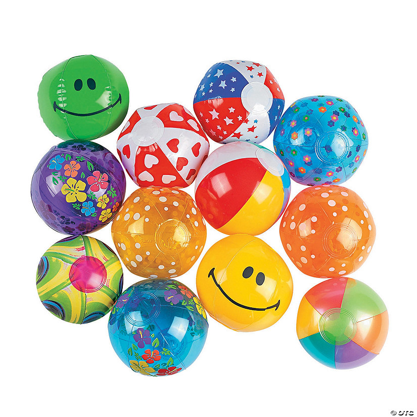Bulk Inflatable Mini Beach Ball Assortment - 50 pcs. Image Thumbnail