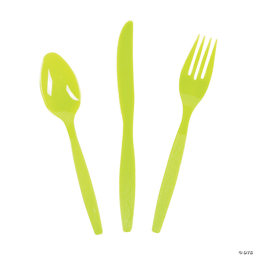 Bulk Lime Green Plastic Cutlery Sets for 70 - 210 Ct. Image Thumbnail