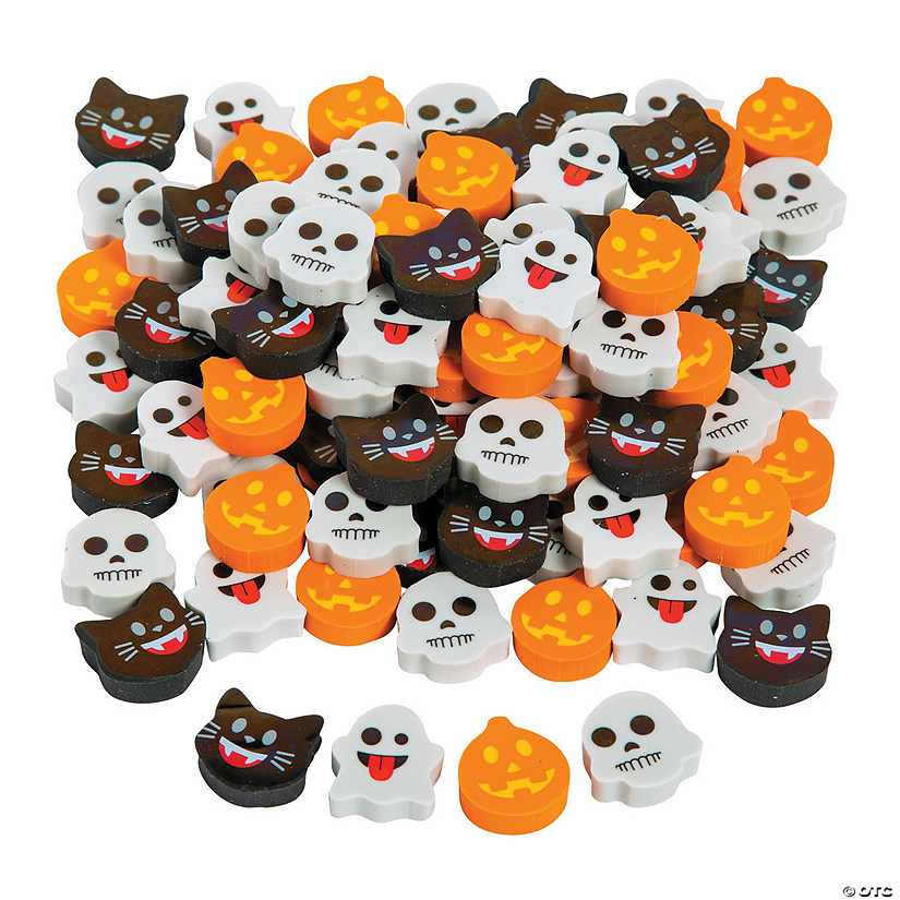 Bulk Mini Halloween Emoji Eraser Assortment - 144 Pc. Image Thumbnail