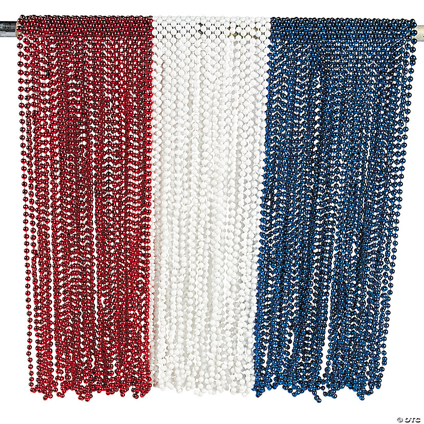Bulk Patriotic Red, White & Blue Beaded Necklace Assortment - 144 Pc. Audio Thumbnail