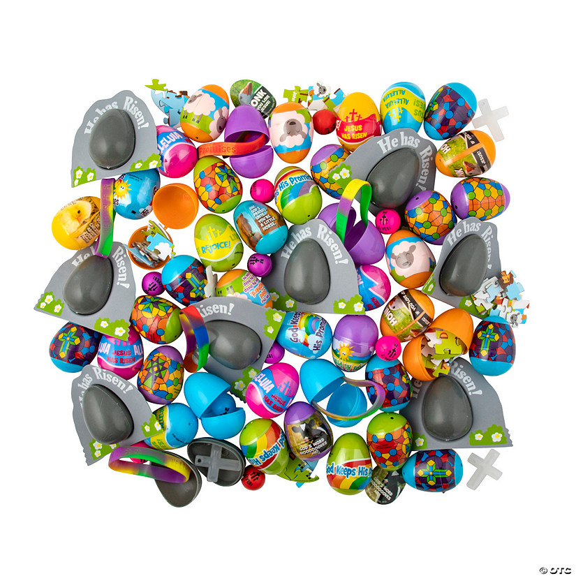 Bulk Religious Toy-Filled Plastic Easter Egg Assortment - 504 Pc. Image Thumbnail