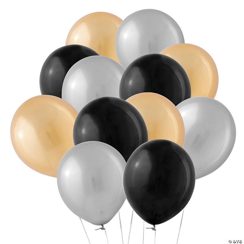 "Bulk Silver, Gold & Black 11"" Latex Balloon Assortment Audio Thumbnail"