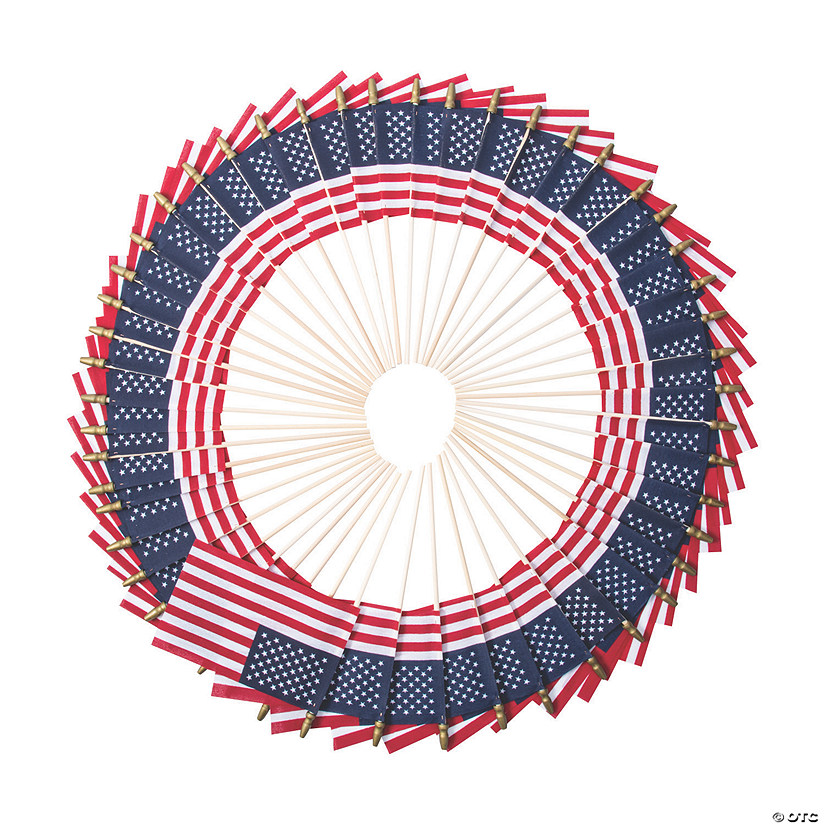 "Bulk Small Cloth American Flags on Wooden Sticks - 6"" x 4"" Audio Thumbnail"