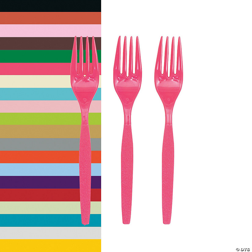 Bulk Solid Color Plastic Forks - 50 Ct.