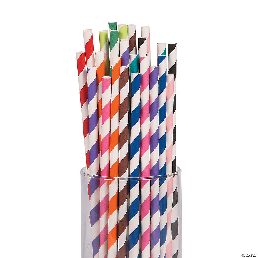 Bulk Striped Paper Straws Pack - 264 Pc. Image Thumbnail