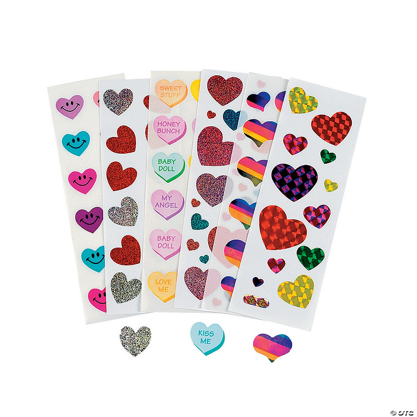 Bulk Valentine Sticker Sheet Assortment - 100 sheets Image Thumbnail