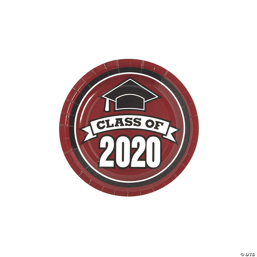 Burgundy Class of 2020 Paper Dessert Plates - 25 Ct. Audio Thumbnail