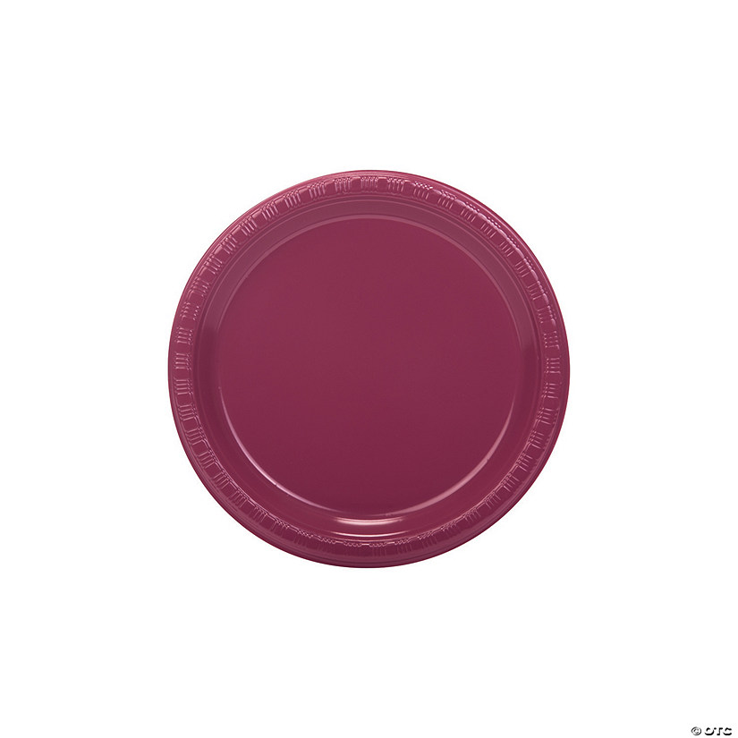 Burgundy Plastic Dessert Plates - 20 Pc. Audio Thumbnail